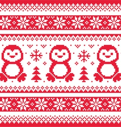 Christmas winter knitted pattern with penguins - vector image