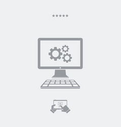Computer settings flat icon vector