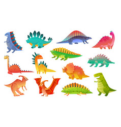 cute cartoon dinosaur funny dinosaurs animal vector image