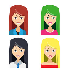 cute of beautiful young girls with various wears vector image