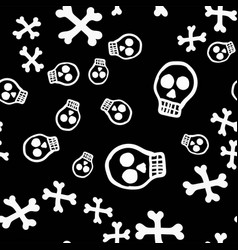 day of the dead cartoon skulls with crossbones vector image