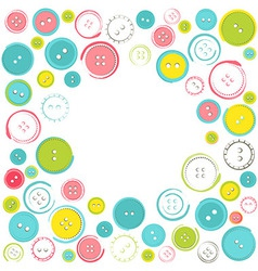 Decorative Frame with Circle of Buttons over White vector image