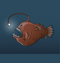Deep sea fish with light pop art vector