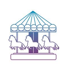 Degraded line mechanical horse ride carnival game vector