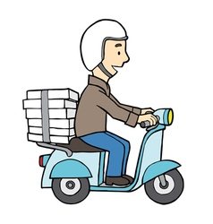 Delivery boy on motor scooter vector