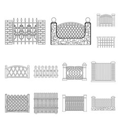 Different fence outline icons in set collection vector