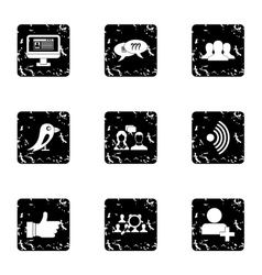 E-mail icons set grunge style vector