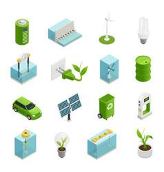 ecology energy isometric icons set vector image