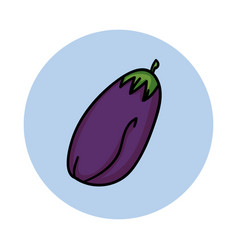 eggplant hand drawn icon cartoon vegetable vector image