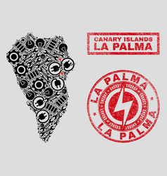 Electrical collage la palma island map and vector