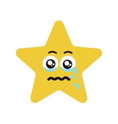 Emotional face star cry vector
