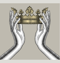 Female hands holding a gold crown vector