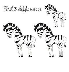 Find differences kids layout for game zebra vector
