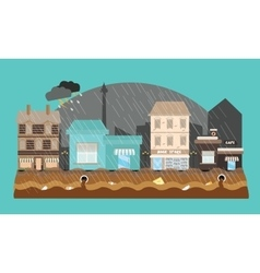 flooding flooded store shop mall street town vector image