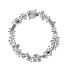 Flower wreath from hand drawing flowers leaves vector