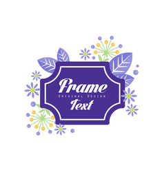 frame text original design elegant floral sign vector image