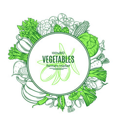 Frame with hand drawn vegetables vector