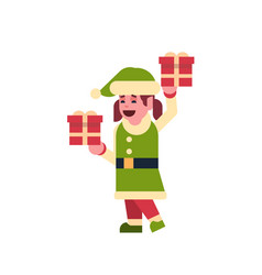 girl elf santa claus helper hold gift box present vector image