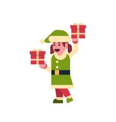 girl elf santa claus helper hold gift box present vector image