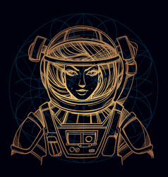 Girl in a spacesuit for t-shirt design or print vector