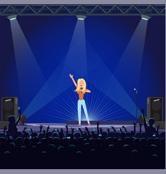 girl singing with microphone on blue stage vector image