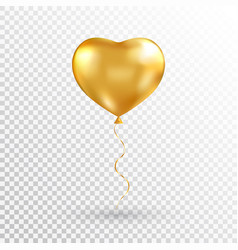 Gold heart balloon on transparent background foil vector