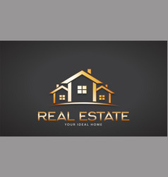 gold real estate houses logo design vector image