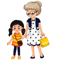 Grandmother and little girl holding hands on vector