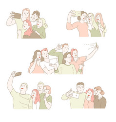 group selfie isolated icons men and women taking vector image