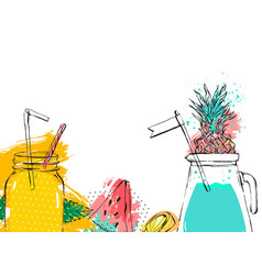Hand drawn abstract fruit detox background vector