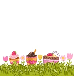 Happy Birthday card with fresh grass and cupcakes vector image