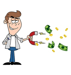 Happy Youth Using A Magnet To Attracts Money vector image