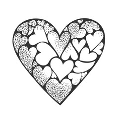 Heart made hearts sketch vector