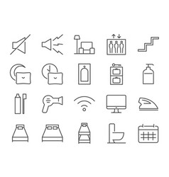 Hostel facilities icon set 2 vector