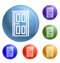 house door icons set vector image