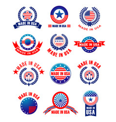 Icons set of made in usa quality vector