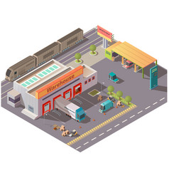 Isometric warehouse and petrol station delivery vector