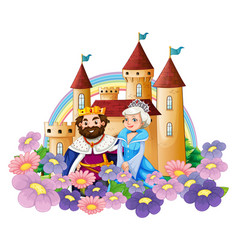King and queen in flower garden at palace vector