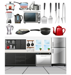 kitchen room and different kitchen tools vector image