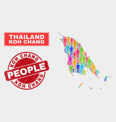 Koh chang map population people and scratched vector