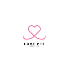 Love pet logo simple logo template vector