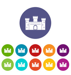 medieval palace icons set flat vector image vector image