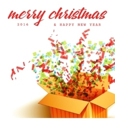 Merry Christmas and Open gift with fireworks vector image