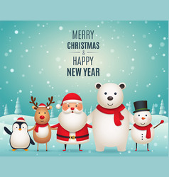 Merry christmas new year companions vector