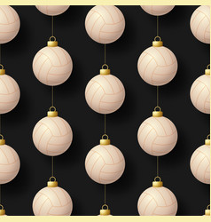 merry christmas volleyball seamless pattern hang vector image