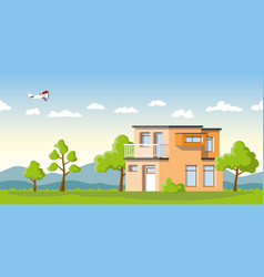 modern cube house in a summer landscape vector image