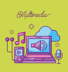 multimedia laptop mp3 microphone music sound vector image