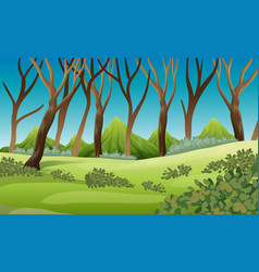 nature scene with trees and mountains vector image