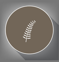 olive twig sign white icon on brown vector image