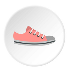 Pink sneakers icon circle vector
